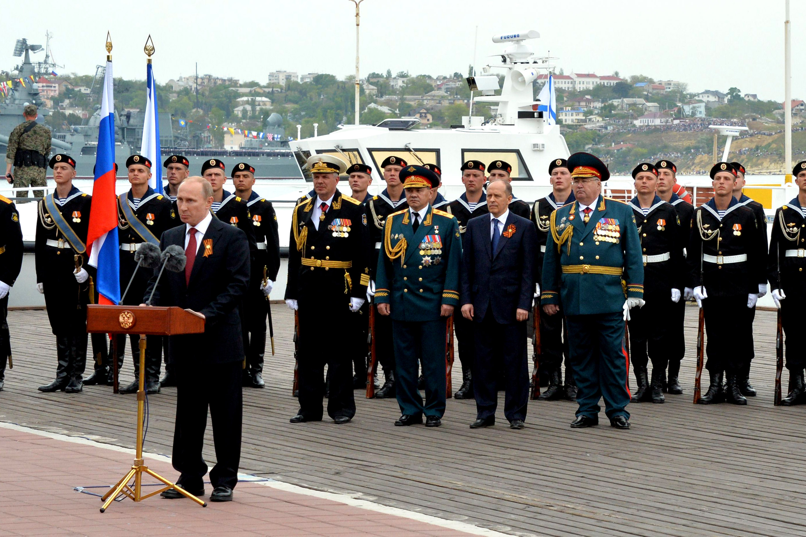 Putin speaks during his visit to the Crimean port of Sevastopol.