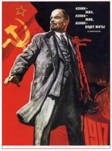 "Lenin says ""Onward Fellow Communists!"""